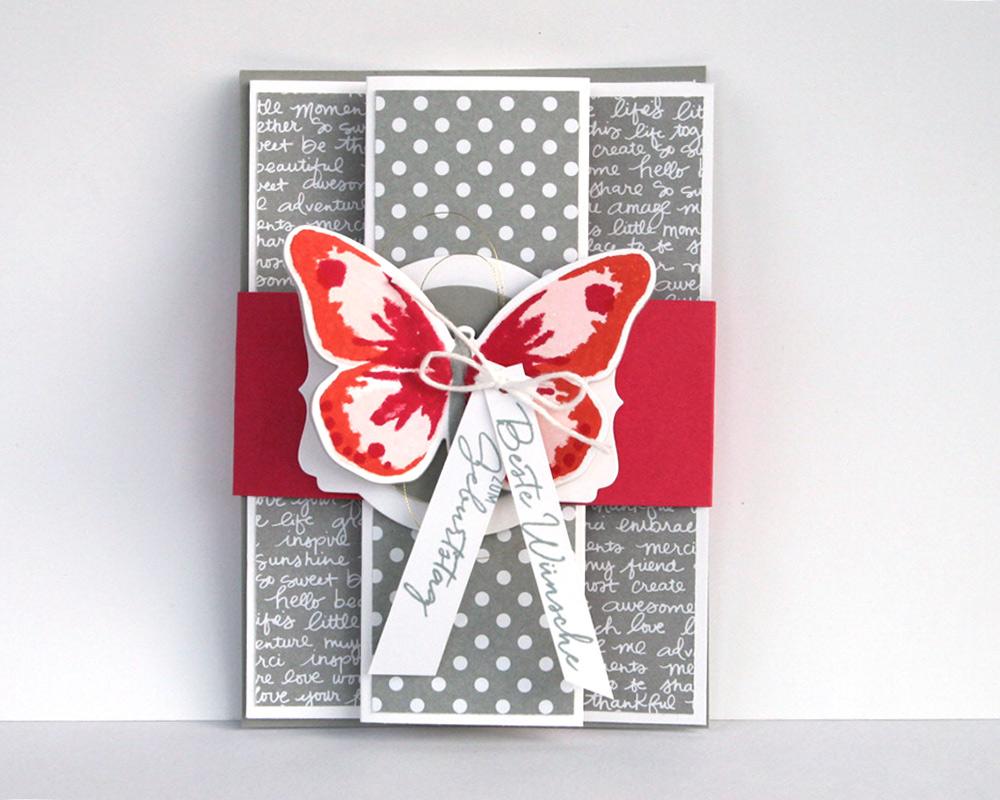 Schmetterlingkarte grau