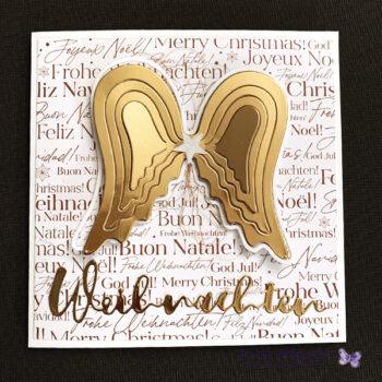 Weihnachtskarte Engelflügel gold